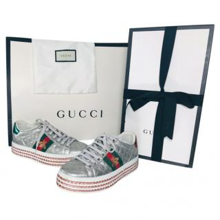 Gucci Crystal Embellished Metallic Platform Ace Sneakers