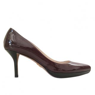 Prada Burgundy Patent Leather Low Heeled Pumps