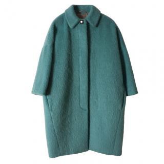 Max Mara Azure Angora Wool Blend Cocoon Coat