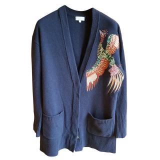Escada Blue Peacock Embroidered Cardigan