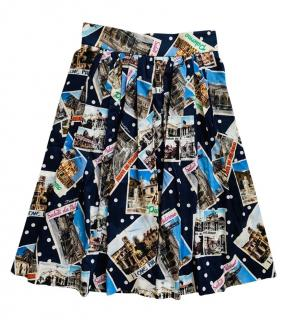 Dolce & Gabbana Polka Dot Postcard Print A-Line Skirt