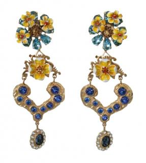 Dolce & Gabbana Floral Crystal Drop Earrings