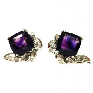 Bespoke vintage amethyst and diamond earrings set in white gold