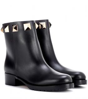Valentino Black Leather Rockstud Ankle Boots
