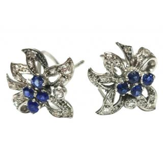 Bespoke vintage floral sapphire and diamond earrings circa 1965