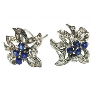 Bespoke vintage floral sapphire and diamond earrings circa 1965