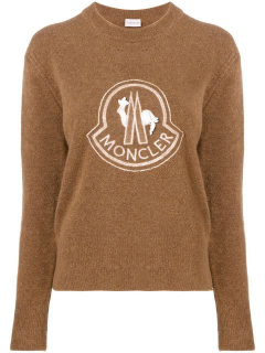 Moncler Lace Embellished Logo Jumper In Brown