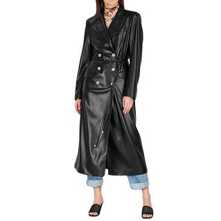 Nanushka Manila black faux leather coat