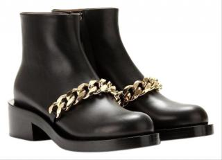 Givenchy Black Leather Chain Ankle boots
