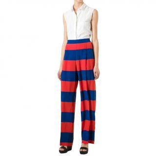 Stella McCartney Cicely Striped Silk-Crepe Wide-Leg Pants
