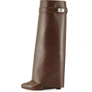 Givenchy brown leather Shark Lock Fold Over Boots