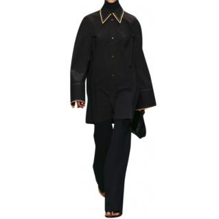Celine Phoebe Philo black cotton shirt with mother of pearl buttons