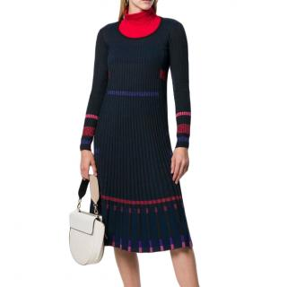 Kenzo Ribbed Knit Pleated Midi Dress