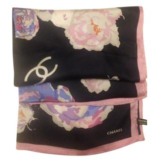 Chanel Large Silk Blue, Pink & White Scarf