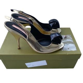 Rupert Sanderson Metallic Gold Slingback Sandals