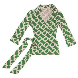 Diane Von Furstenberg Green & White Printed Wrap Top