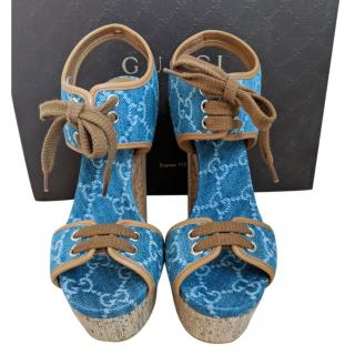 Gucci Monogram Denim Wedge Sandals