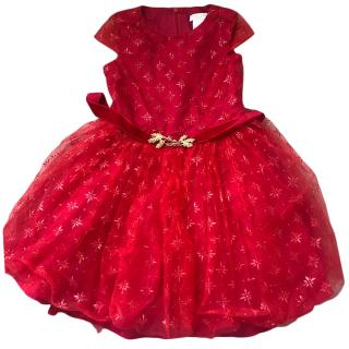 David Charles Red & Gold Girl's Tulle Dress