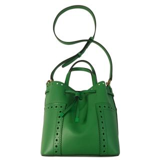 Tory Burch green leather bucket bag