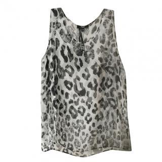 Versus Versace Leopard Print Sheer Top