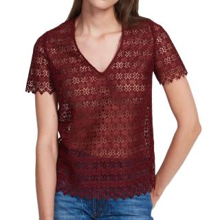 Sandro Lace Burgundy Top