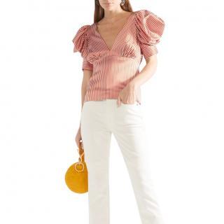 Silvia Tcherassi Udine striped silk-blend charmeuse top