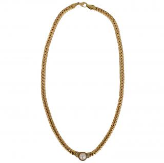 Bespoke Vintage Pearl & Diamond Yellow Gold Necklace