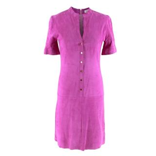 Jitrois Magenta Velour Button Down Mini Dress