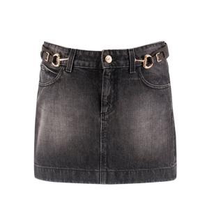 Gucci Grey Horsebit Detailed Denim Mini Skirt
