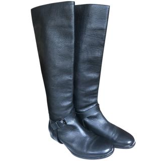 Lanvin Black Leather Knee Boots