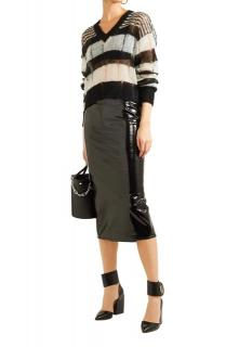 McQ by Alexander McQueen Black Latex Look Fitted Skirt