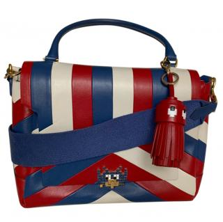Anya Hindmarch Blue, Red & White Space Invader Bag