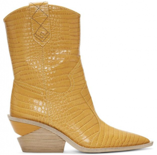 Fendi Yellow Croc Effect Cowboy Boots