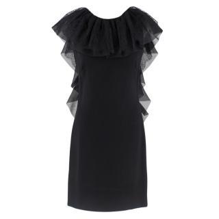 Azzaro Gazette Wool Backless Lace Dress