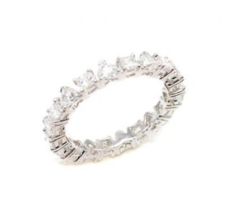 Bespoke 18ct White Gold Princess & Heart Cut Diamond Band Ring