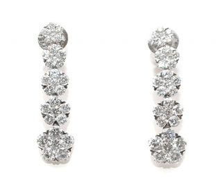 Bespoke 18ct White Gold Diamond Drop Earrings
