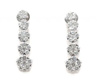 Bespoke 18ct White Gold Diamond Drop Earrings