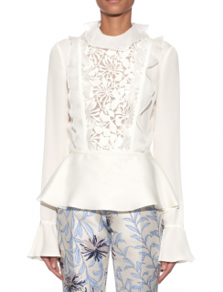 Giambatista Valli Floral Macram�-lace Silk Blouse