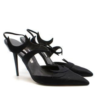 Manolo Blahnik Black Slingback Swirled Sandals