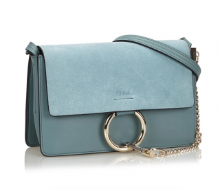 Chloe Sky Blue Leather Faye Bag