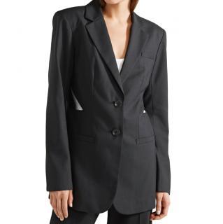 Tibi Black Virgin Wool Cut-Out Blazer