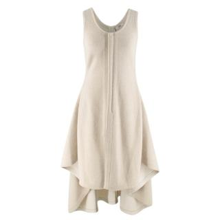 Celine Bone White Asymmetric Knit Dress