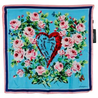 Dolce & Gabbana Blue Floral Print Silk Scarf