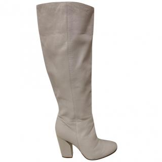 Casadei Beige Leather Knee Boots