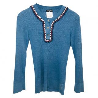 Chanel Linen Blend Blue Knit Top