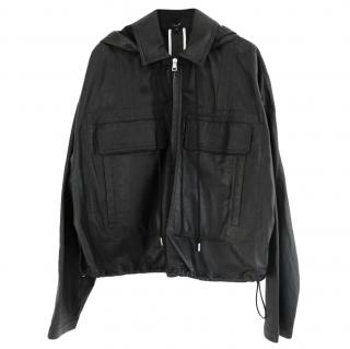 Theory Lightweight Black Leather Jacket