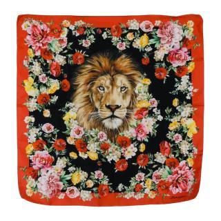 Dolce & Gabbana Lion Print Silk Scarf