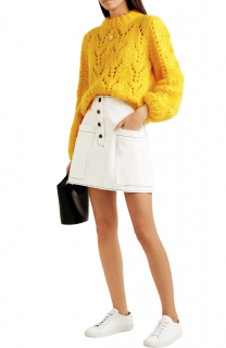 Ganni Pointelle-knit Mohair & Wool-blend Marigold Julliard Jumper