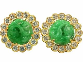 Bespoke Jade & Diamond Hand Carved Earrings