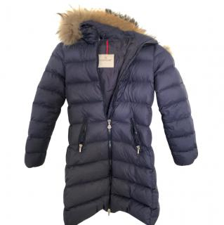 Moncler Kid's Navy Long Puffer Coat W/ Fur Trim